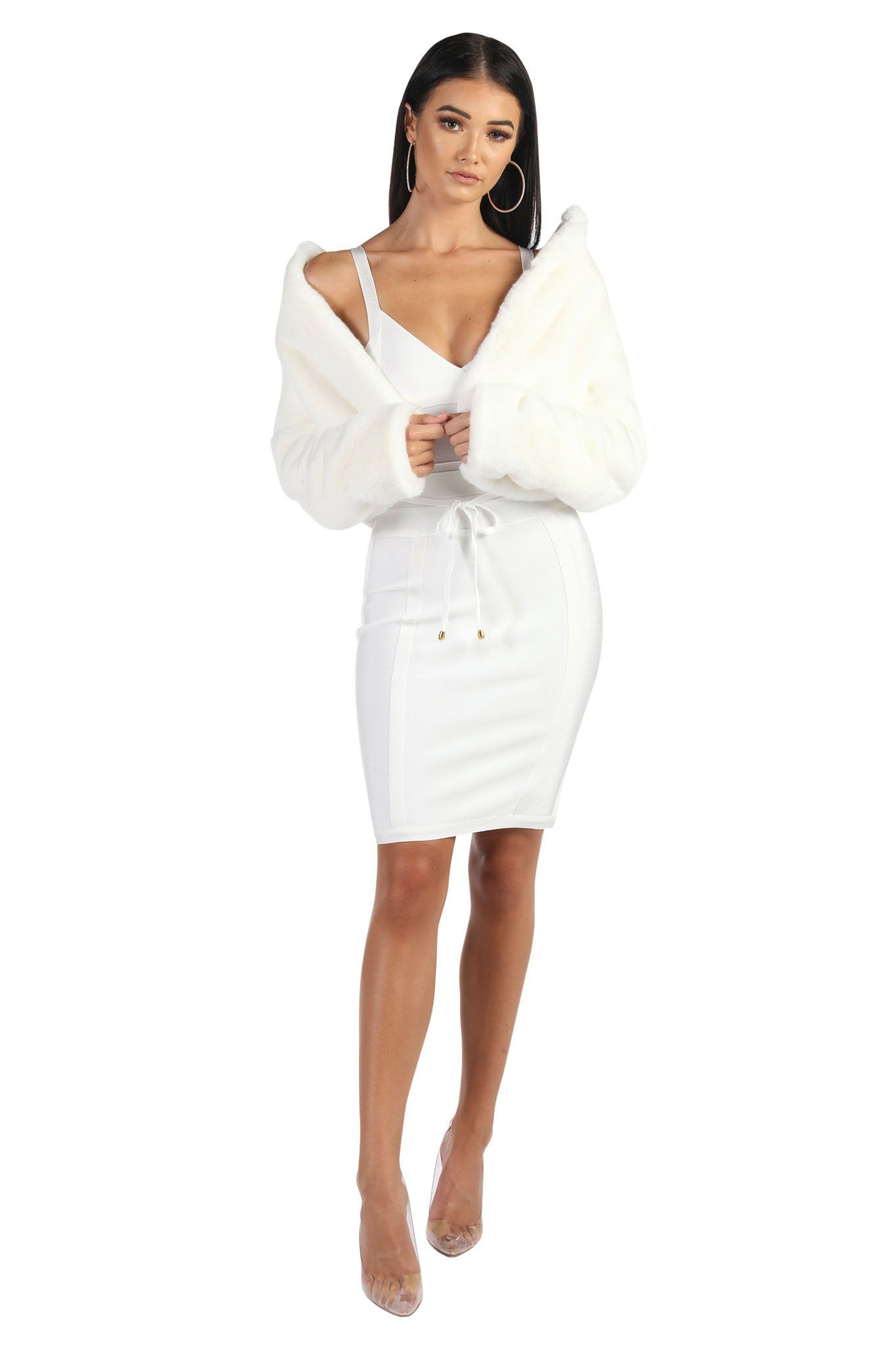 Cropped Faux Fur Coat - White