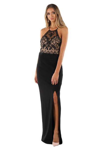 Davina Beaded Maxi Dress - Black