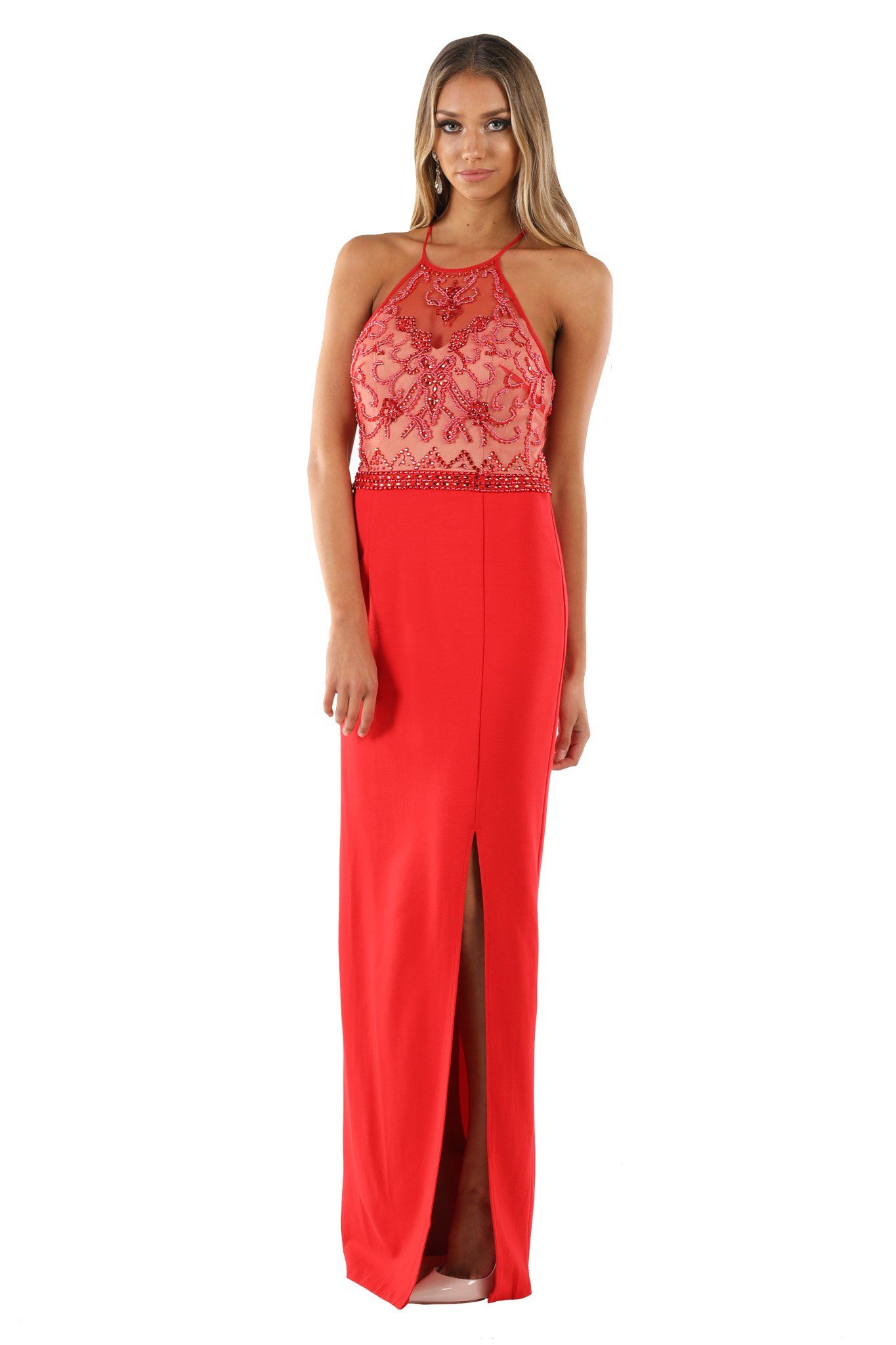 Red sleeveless maxi floor length column dress with high illusion neckline, beaded bodice, high front slit and adjustable crisscross back straps