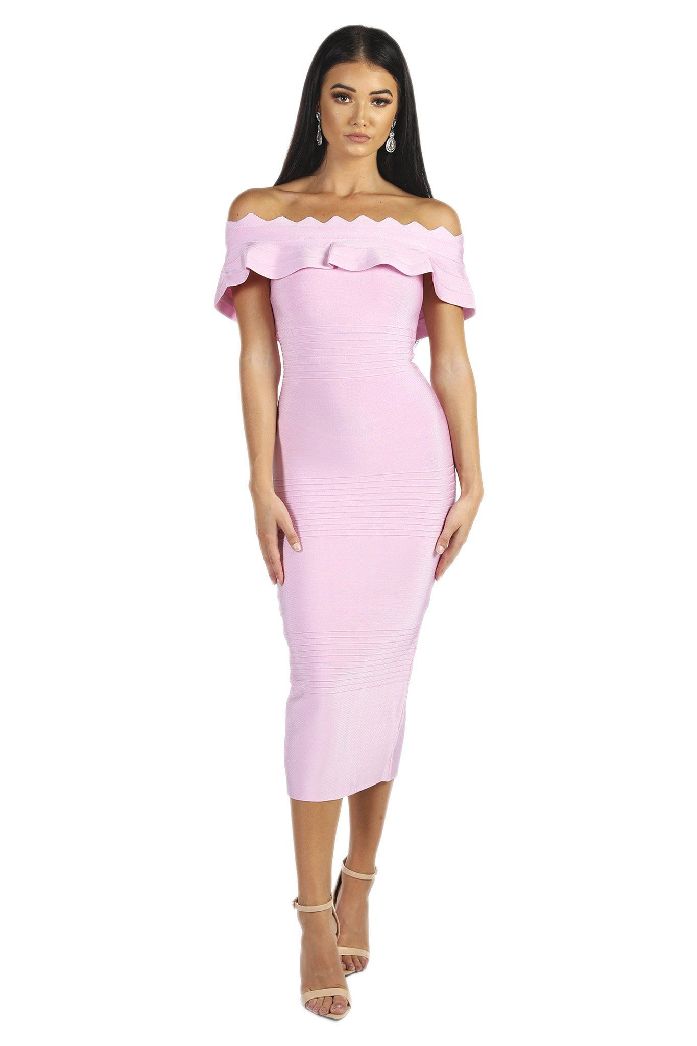Light Pink Below Knee Length Bodycon Bandage Dress with Ruffled Off-The-Shoulder Neckline