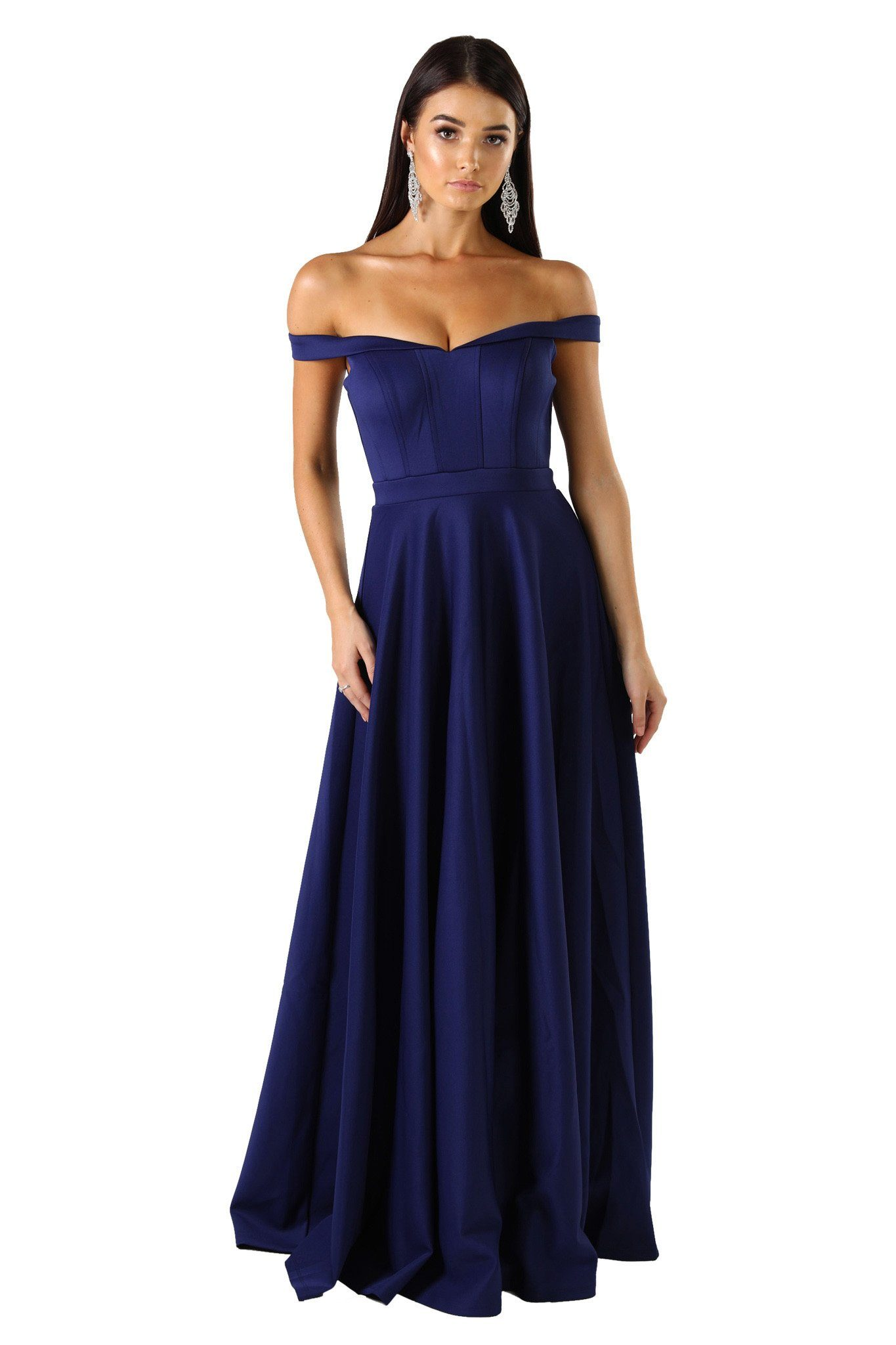 Off shoulder ponti floor length A line skirt gown in navy/dark blue color