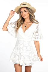 White Lace Summer Mini Dress with V-Neck, Angel Butterfly Sleeves, Ruffled Hemline and Lace Trimming Details