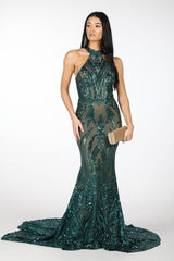 Emerald Pattern Sequin Gown with Nude Illusion Lining, High Neck and Fit and Flare Mermaid Skirt and Sweep Train