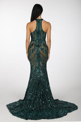 Delilah High Neck Pattern Sequin Gown - Emerald