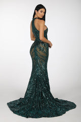 Back Image of Emerald Pattern Sequin Gown with Nude Illusion Lining, High Neck and Fit and Flare Mermaid Skirt and Sweep Train