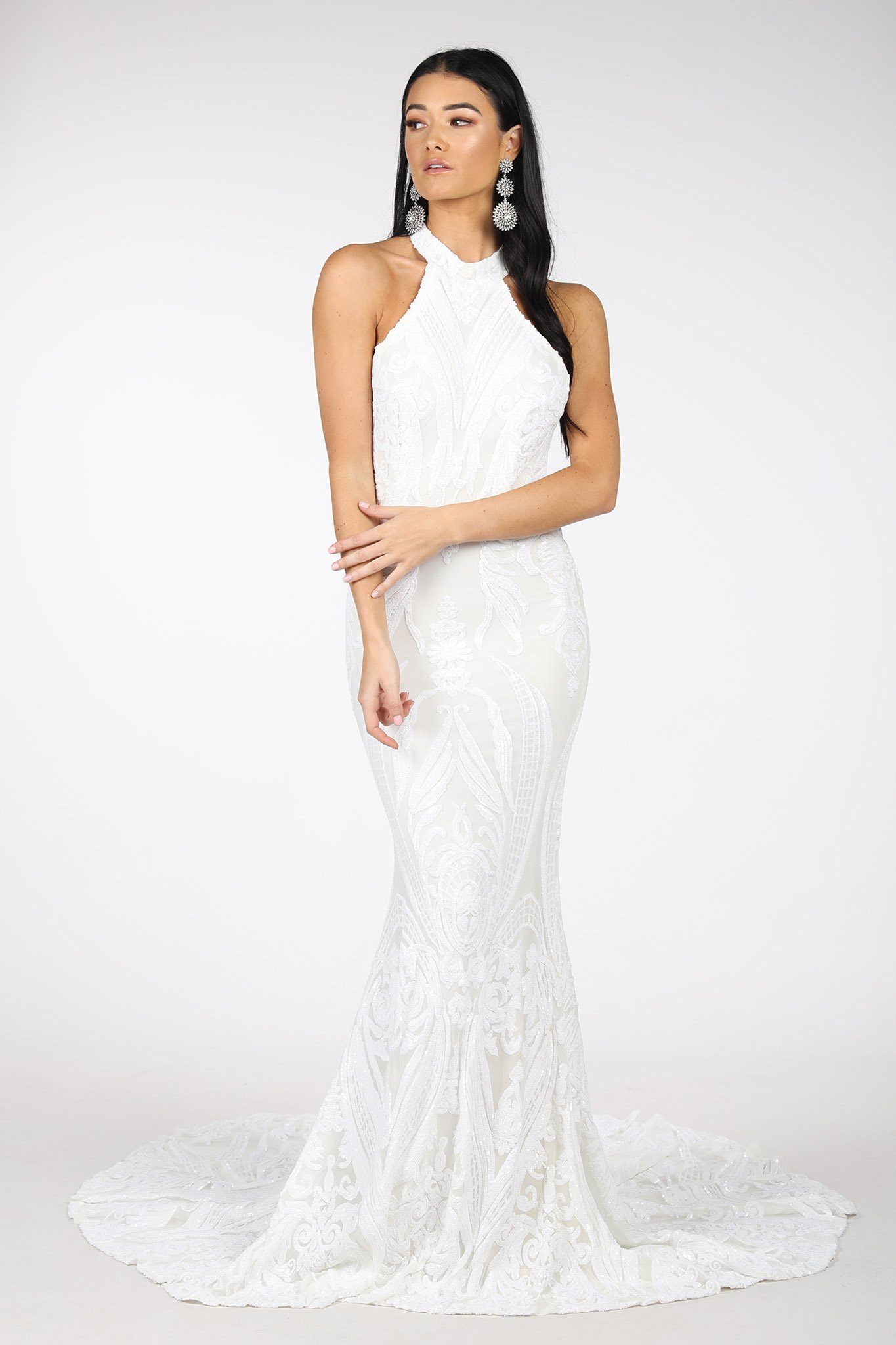 White Pattern Sequin Gown with High Neck and Fit and Flare Mermaid Skirt