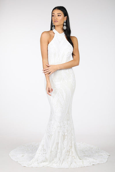 Delilah High Neck Pattern Sequin Gown - White
