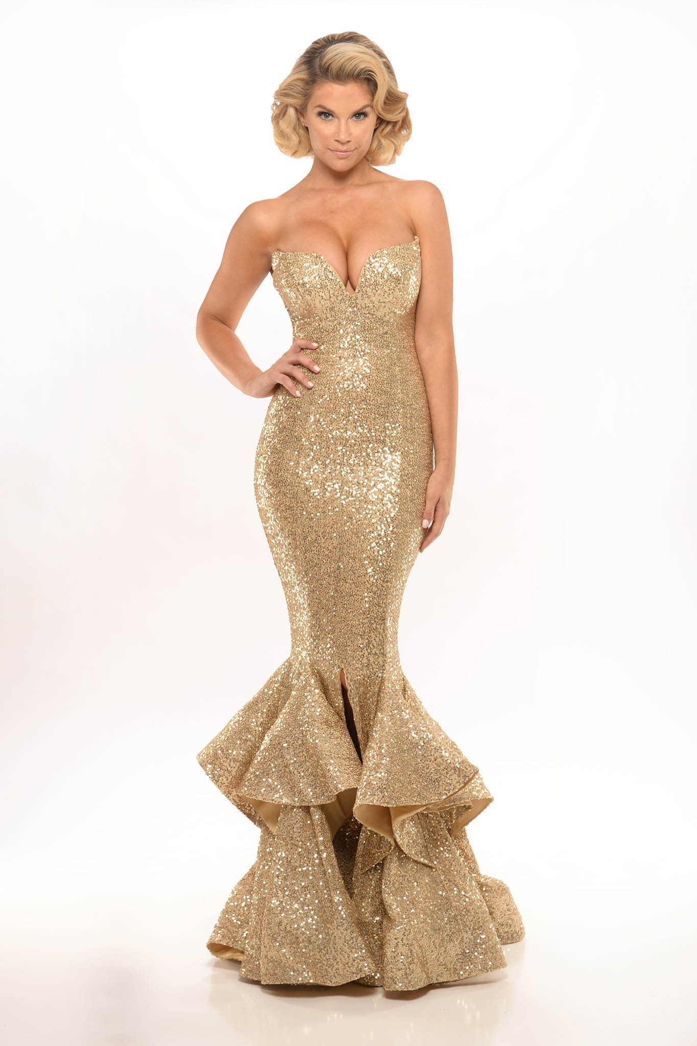 Designer gold sequin strapless deep sweetheart neckline mermaid gown with front split and ruffle hem