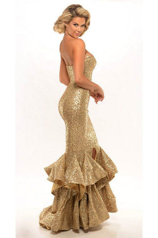 Diamond Strapless Gown in Gold by Portia & Scarlett