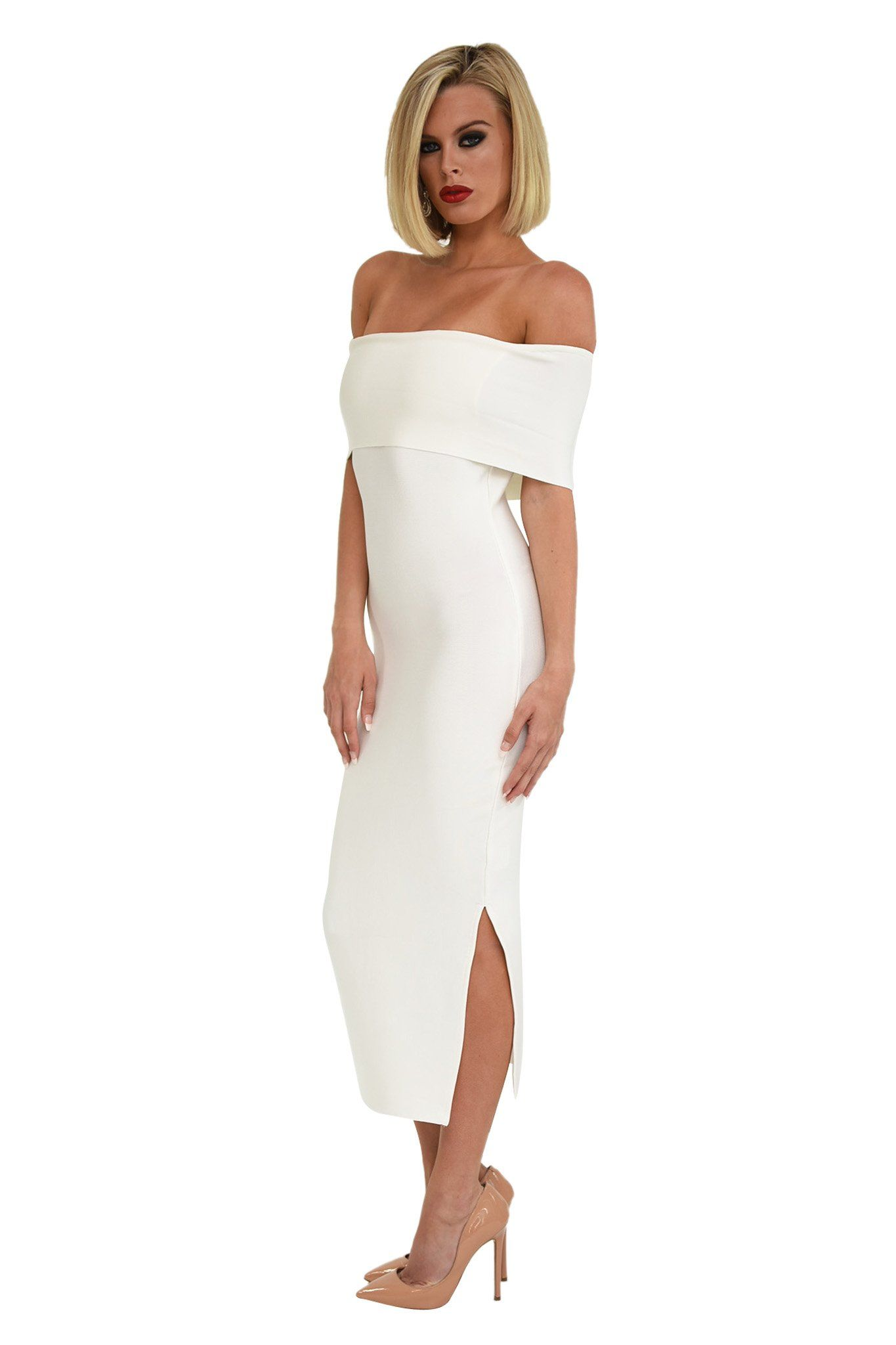 Side of White Off The Shoulder Short Sleeves Midi Form Fitting Bodycon Dress Side Leg Slit