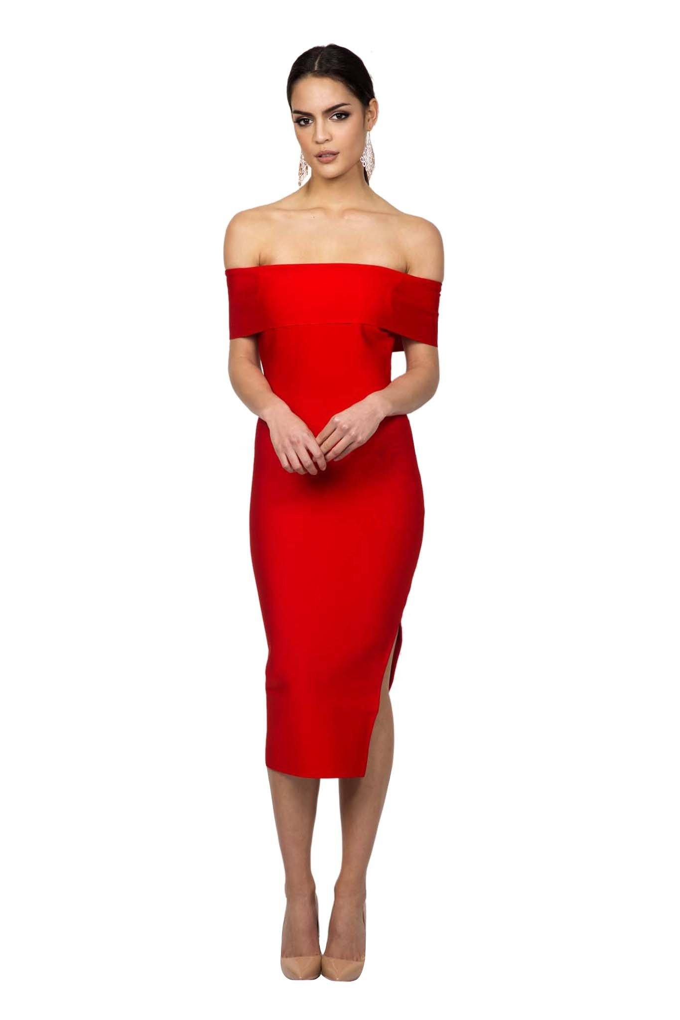 Red Of The Shoulder Short Sleeves Midi Form Fitting Bodycon Dress Side Leg Slit