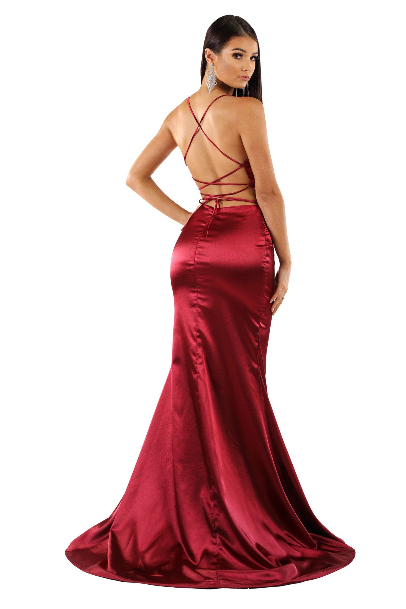 Burgundy satin formal long maxi dress deep V plunging neckline, high front left slit, lace-up straps on open back, floor sweep train