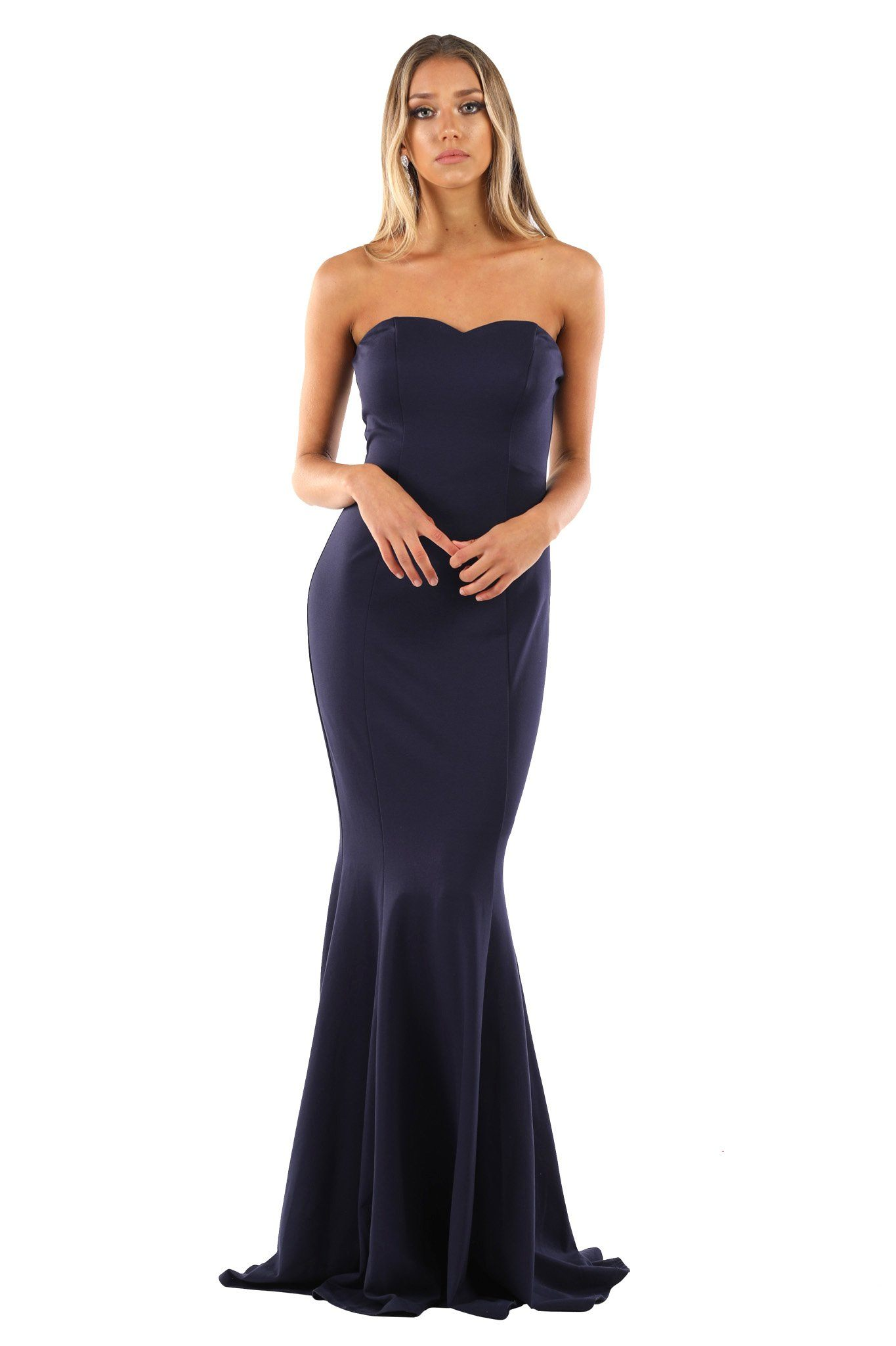 Navy dark blue strapless sleeveless floor length evening fitted bodycon gown with sweetheart neckline and mermaid tail