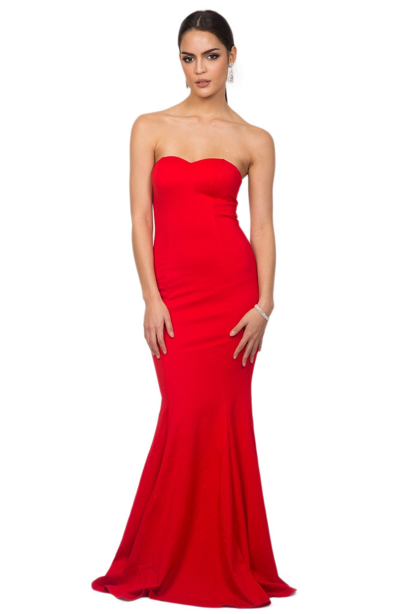 Red strapless sleeveless floor length evening fitted bodycon gown with sweetheart neckline and mermaid tail