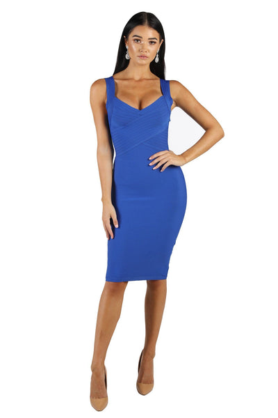 Eva Crisscross V Neck Bandage Dress - Blue