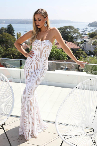 EVITA Sequin Gown - White & Beige