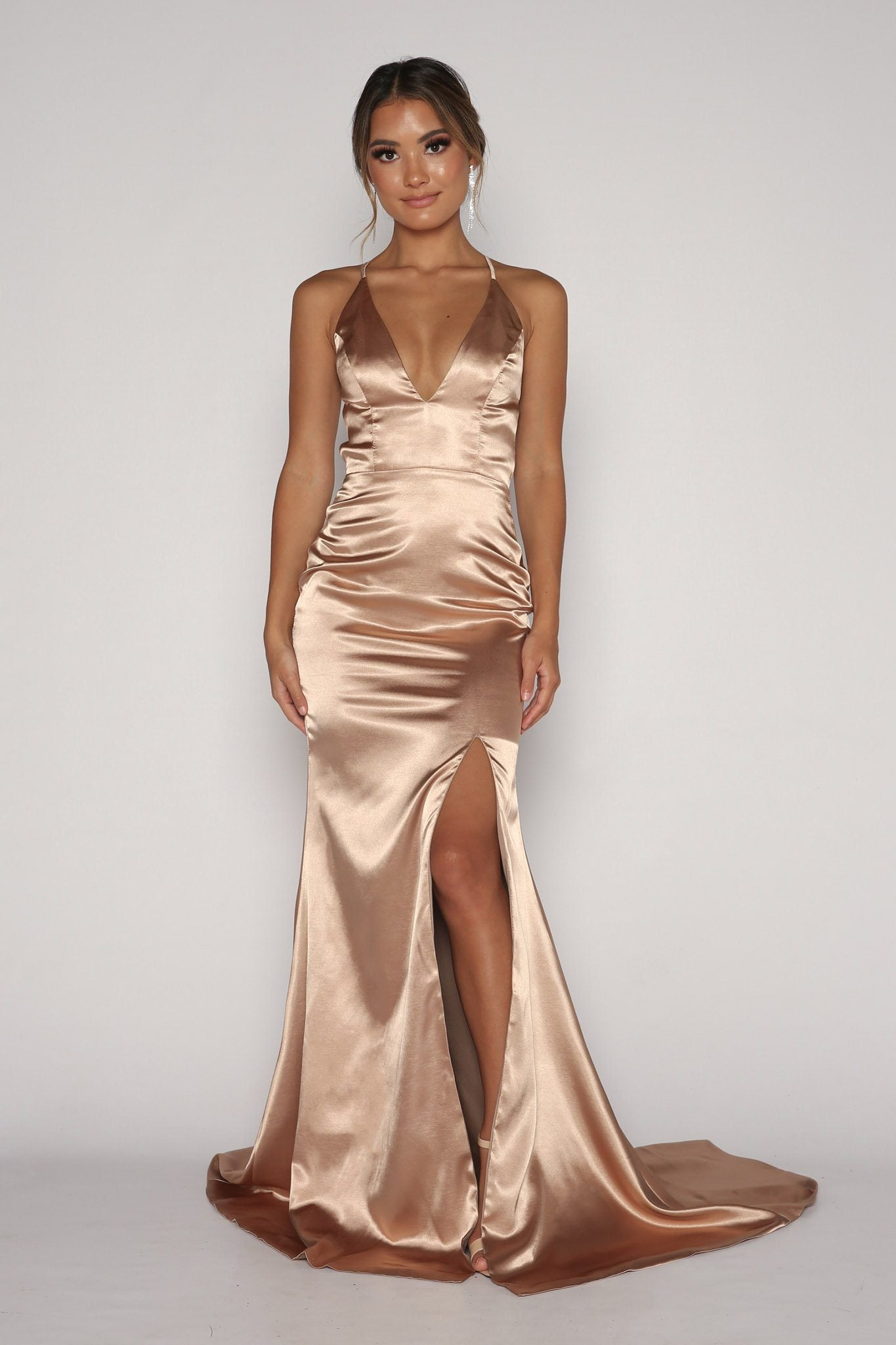 Nude Champagne Coloured Satin Formal Full Length Maxi Dress with Deep V Plunging Neckline, High Front Left Slit, Lace-Up Straps on Open Back, Floor Sweep Train
