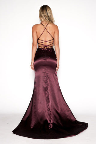 ELECTRA Lace Up Back Front Slit Satin Gown - Plum