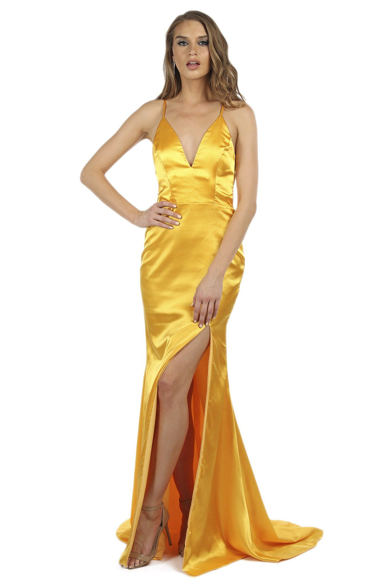 Bright Yellow satin formal long maxi dress deep V plunging neckline, high front left slit, lace-up straps on open back, floor sweep train