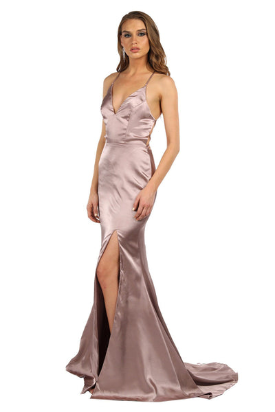 ELECTRA Lace Up Back Front Slit Satin Gown - Champagne