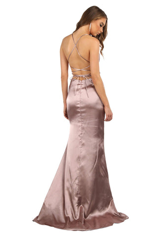ELECTRA Lace Up Back Front Slit Satin Gown - Mauve