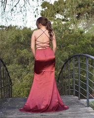 ELECTRA Lace Up Back Front Slit Satin Gown - Deep Red
