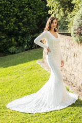 White Embroidered Pattern Sequin Figure Hugging Floor Length Gown, Long Sleeves, Deep V Neck, Long Mermaid Train