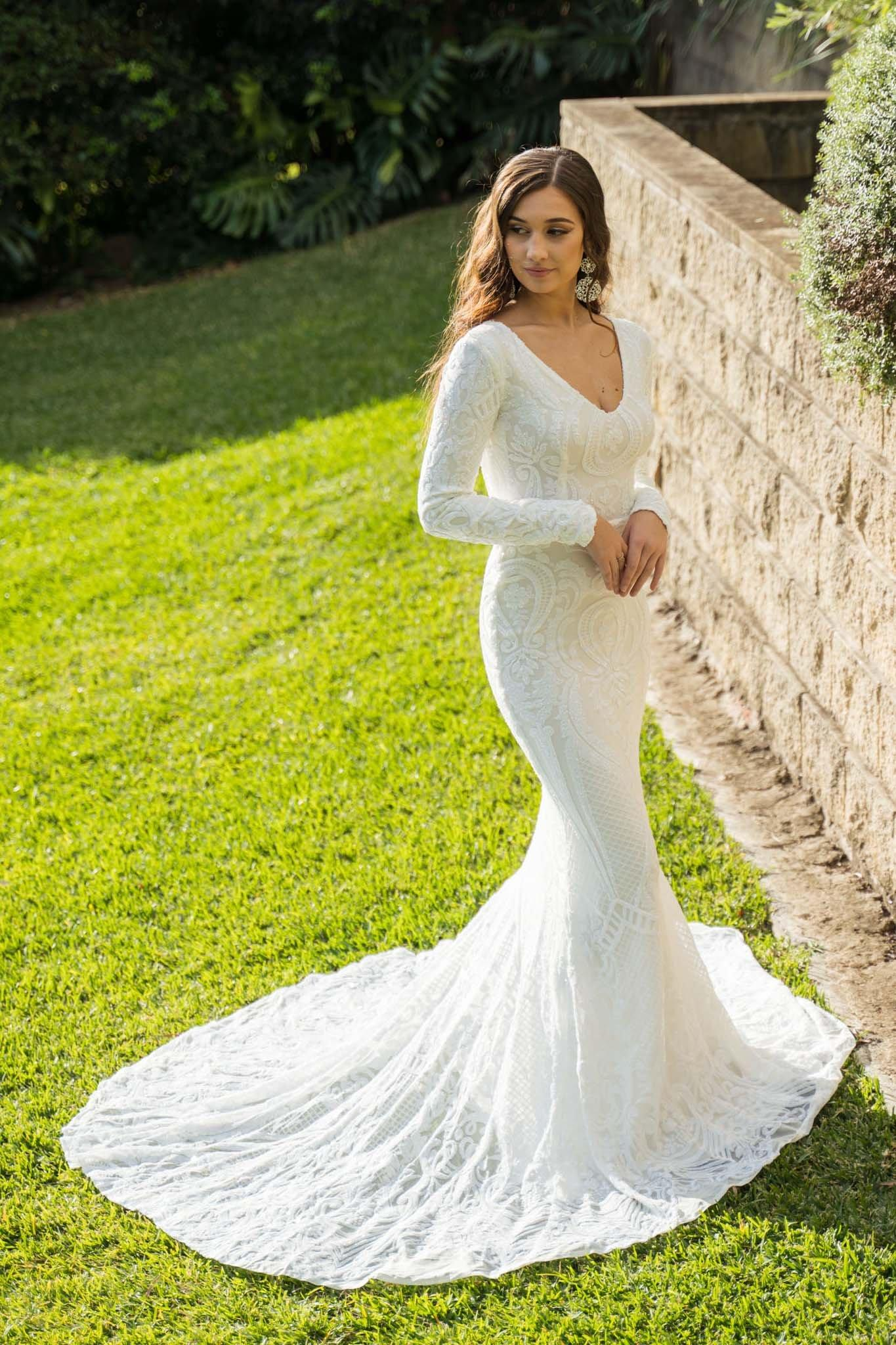 White Embroidered Pattern Sequin Fitted Floor Length Gown, Long Sleeves, Deep V Neck, Long Mermaid Train