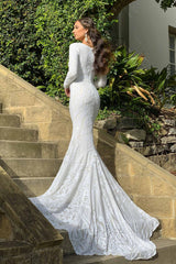 Closed Back and Mermaid Design of White Embroidered Pattern Sequin Fitted Floor Length Gown, Long Sleeves, Deep V Neck