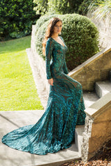 Emerald Green Embroidered Pattern Sequin Fitted Floor Length Gown, Long Sleeves, Deep V Neck, Long Mermaid Train