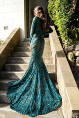 Elena Long-Sleeve Pattern Sequin Gown - Emerald