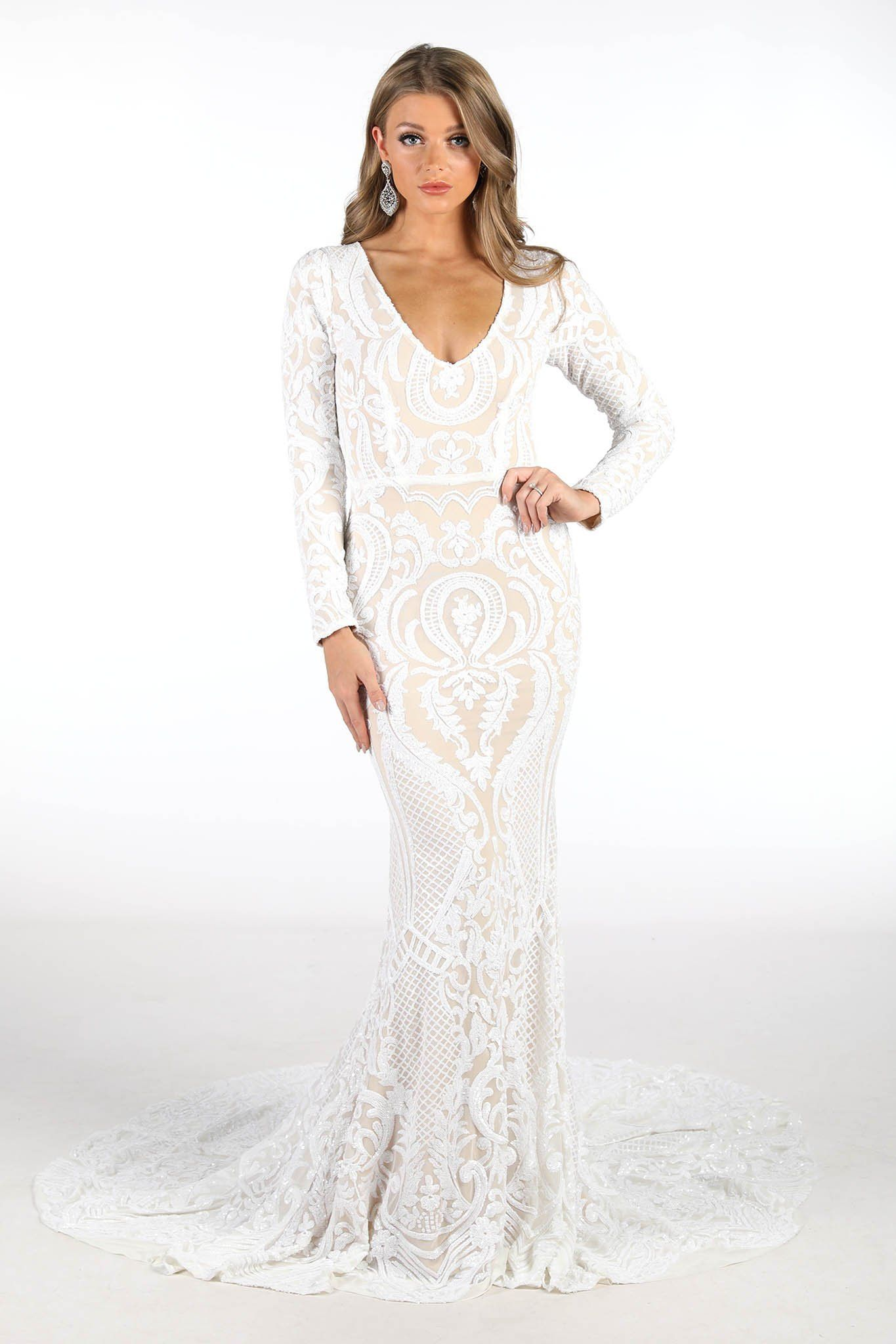 White Embroidered Pattern Sequin Fitted Floor Length Gown with Nude Lining, Long Sleeves, Deep V Neck, Long Mermaid Train