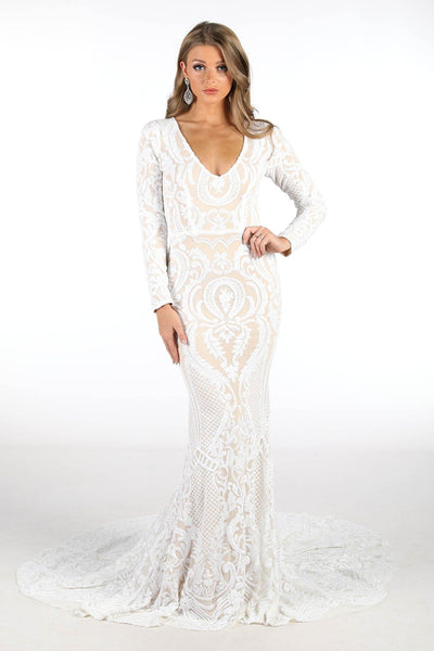 Elena Long-Sleeve Pattern Sequin Gown - White/Nude