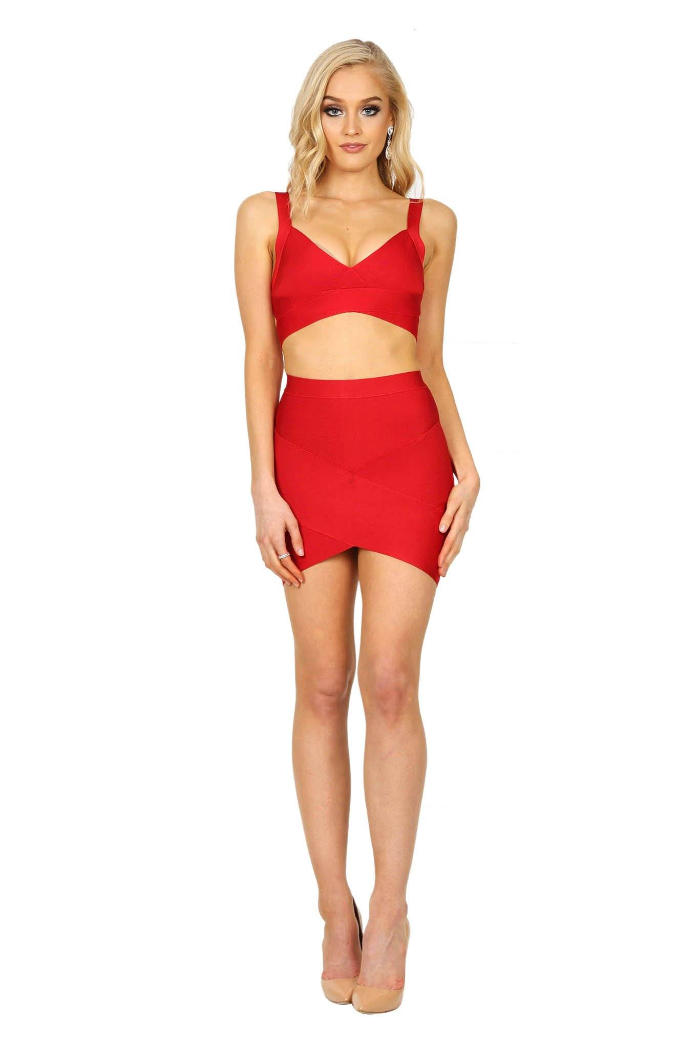 760236f229 Red matching fitted bandage set including bralette style top and arched hem  mini skirt