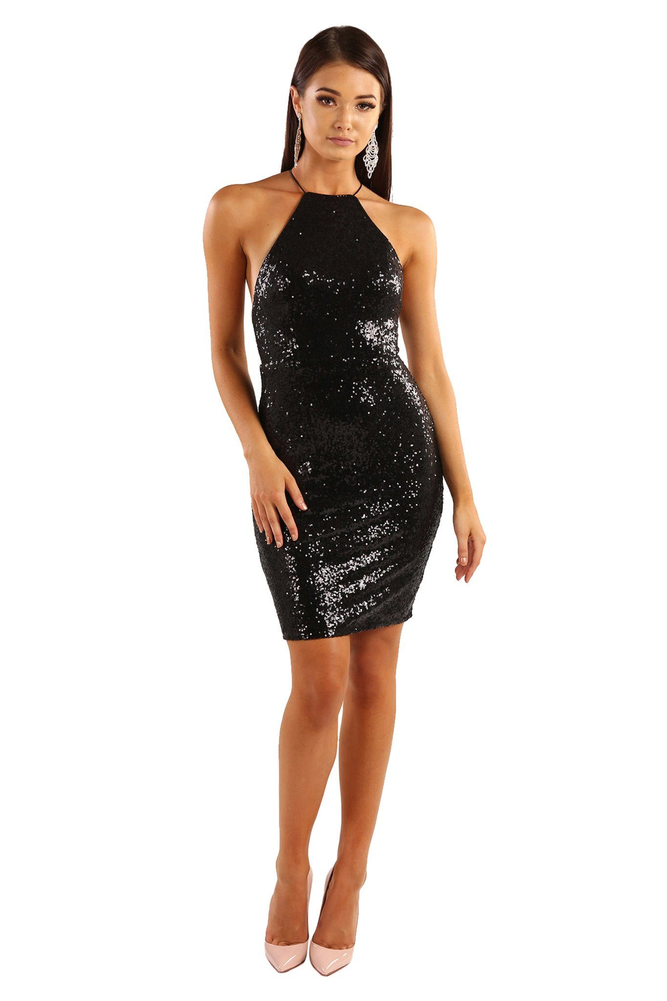 Black sequin sleeveless mini above-knee length fitted dress features lace-up on open back