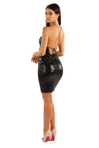 Ella Sequin Mini Dress - Black