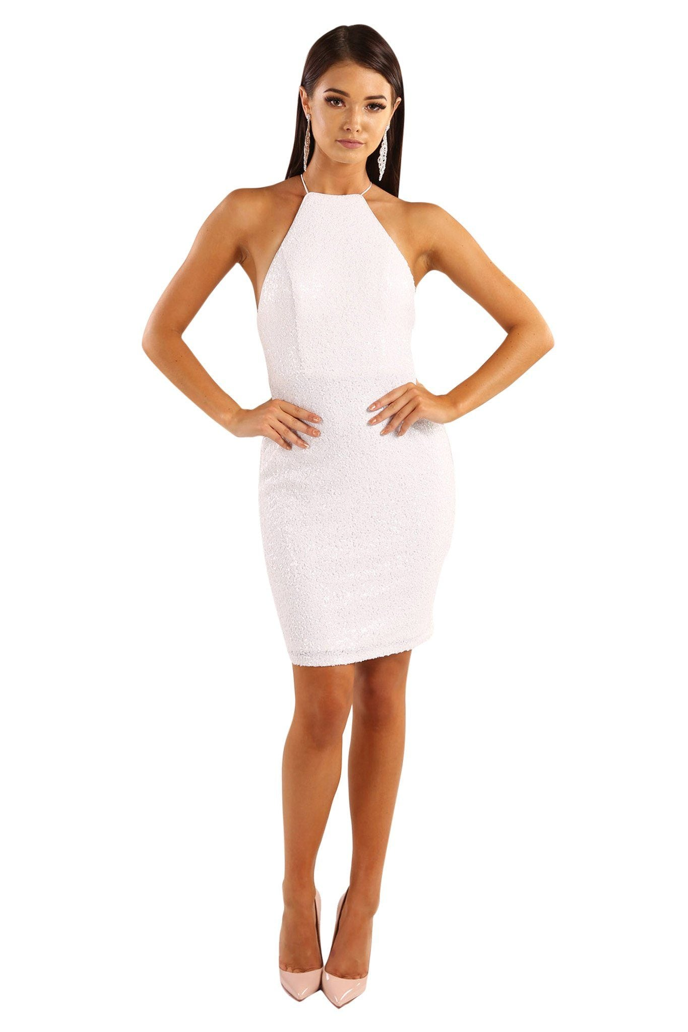 White sequin sleeveless mini above-knee length fitted dress features lace-up  on open 63f91cb8d