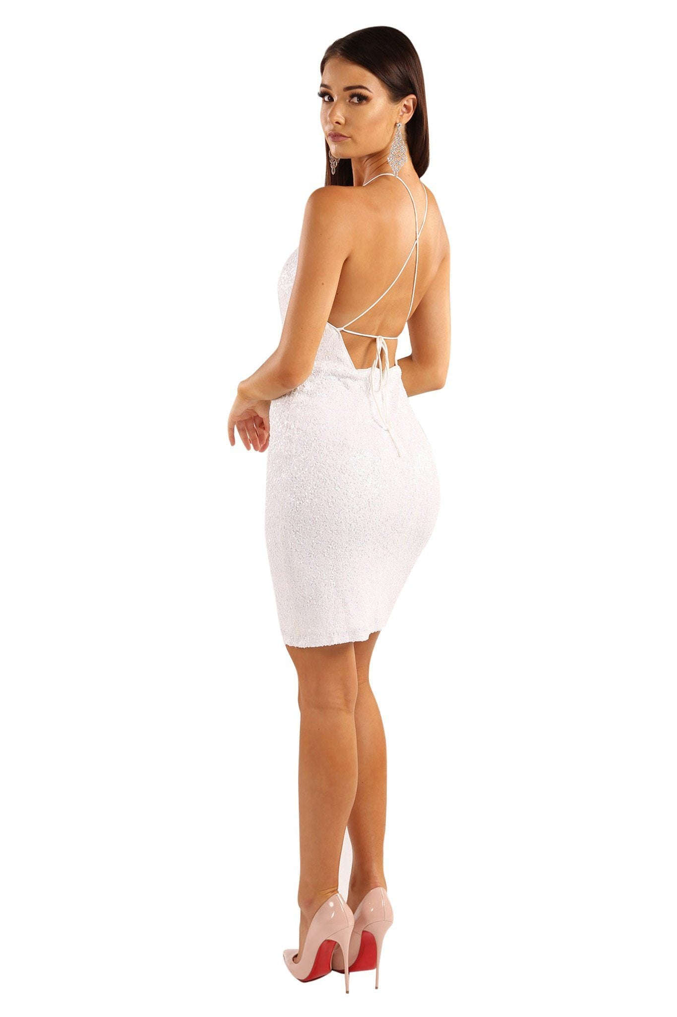 f75d7f44fca7f ... Lace-up on open back design of White sequin sleeveless mini above-knee  length
