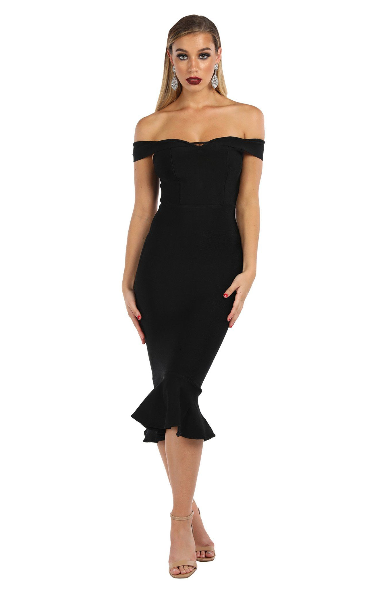 Black off-the-shoulder below-knee length bandage dress with cap sleeves and peplum hem