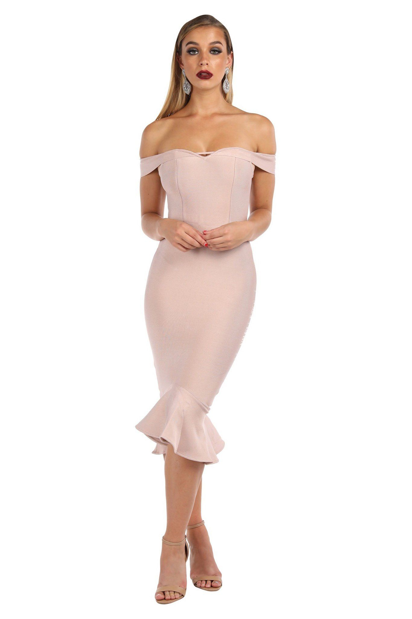 Light pink nude colored below knee length bodycon bandage dress with off the shoulder and peplum hem design