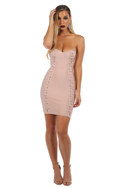 Emma Mini Bandage Dress - Blush