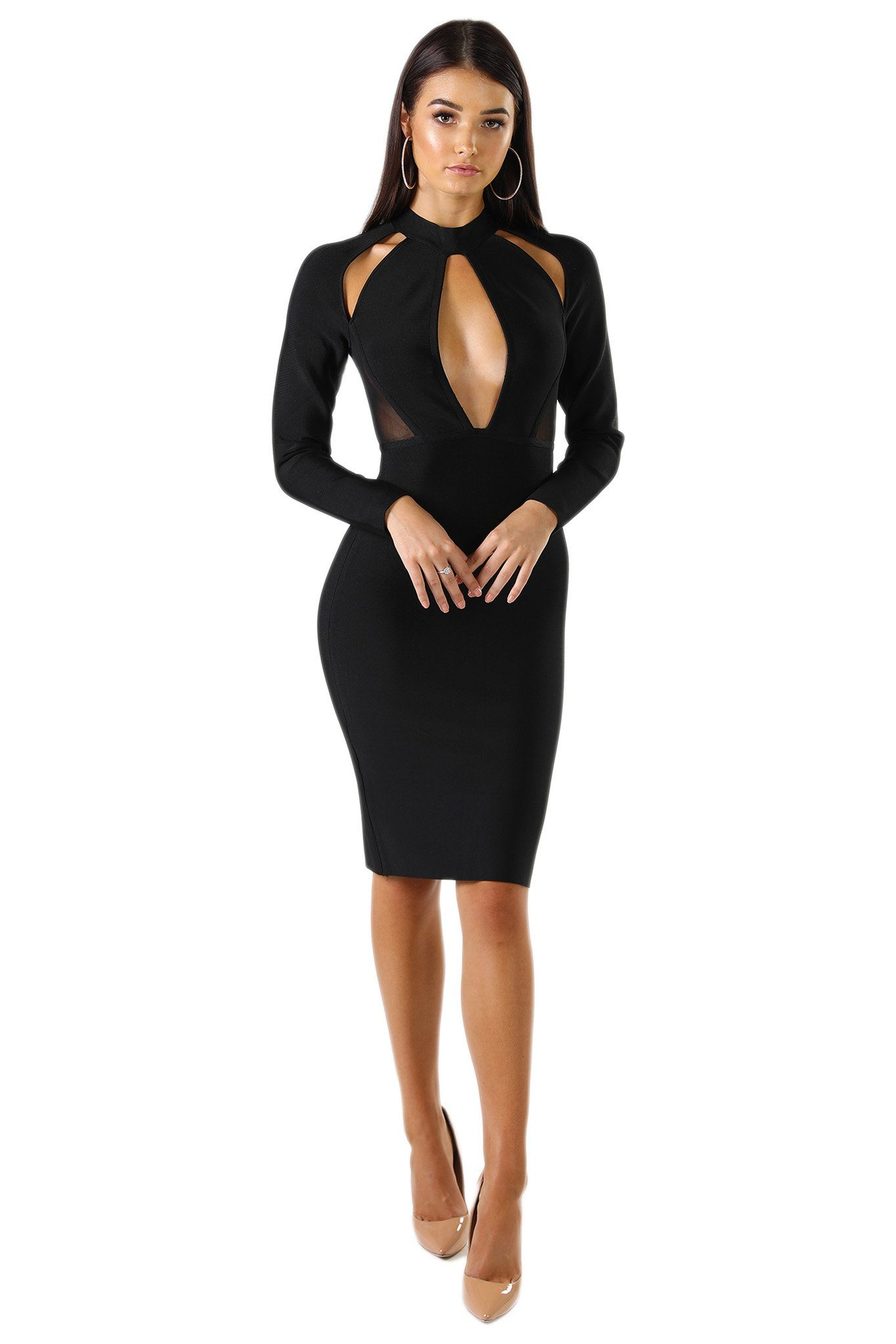 Black midi long sleeve bodycon bandage dress with keyhold and shoulder cut outs