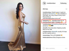 Customer photo and feedback for Gold Estelle sequin gown from Noodz Boutique