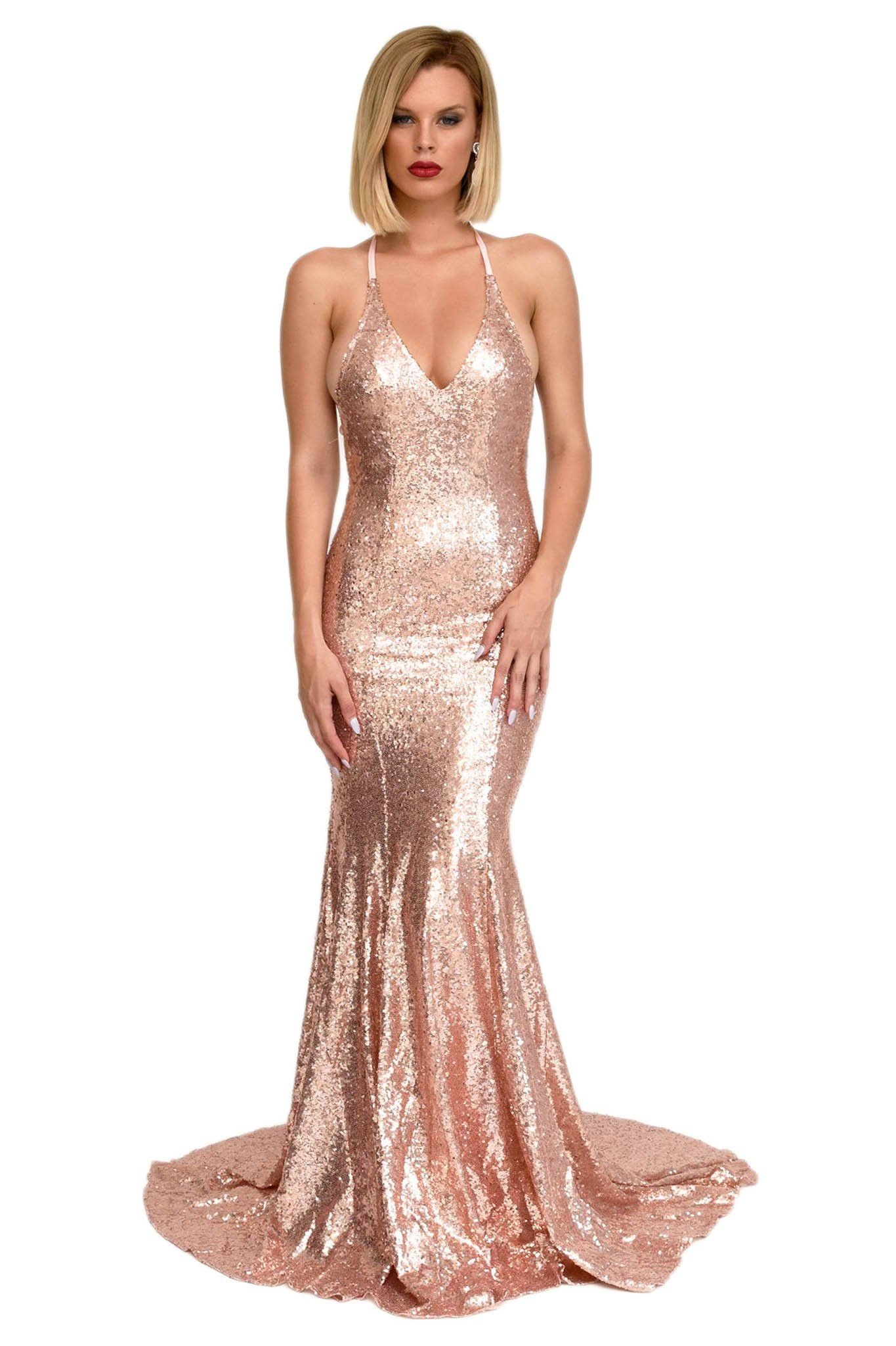 1e899a7ad9 Front of rose gold sequin formal floor-length evening gown low-cut deep v