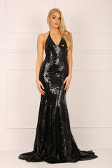 Black sleeveless sequin mermaid gown with deep V neckline, crisscross back straps and a long train