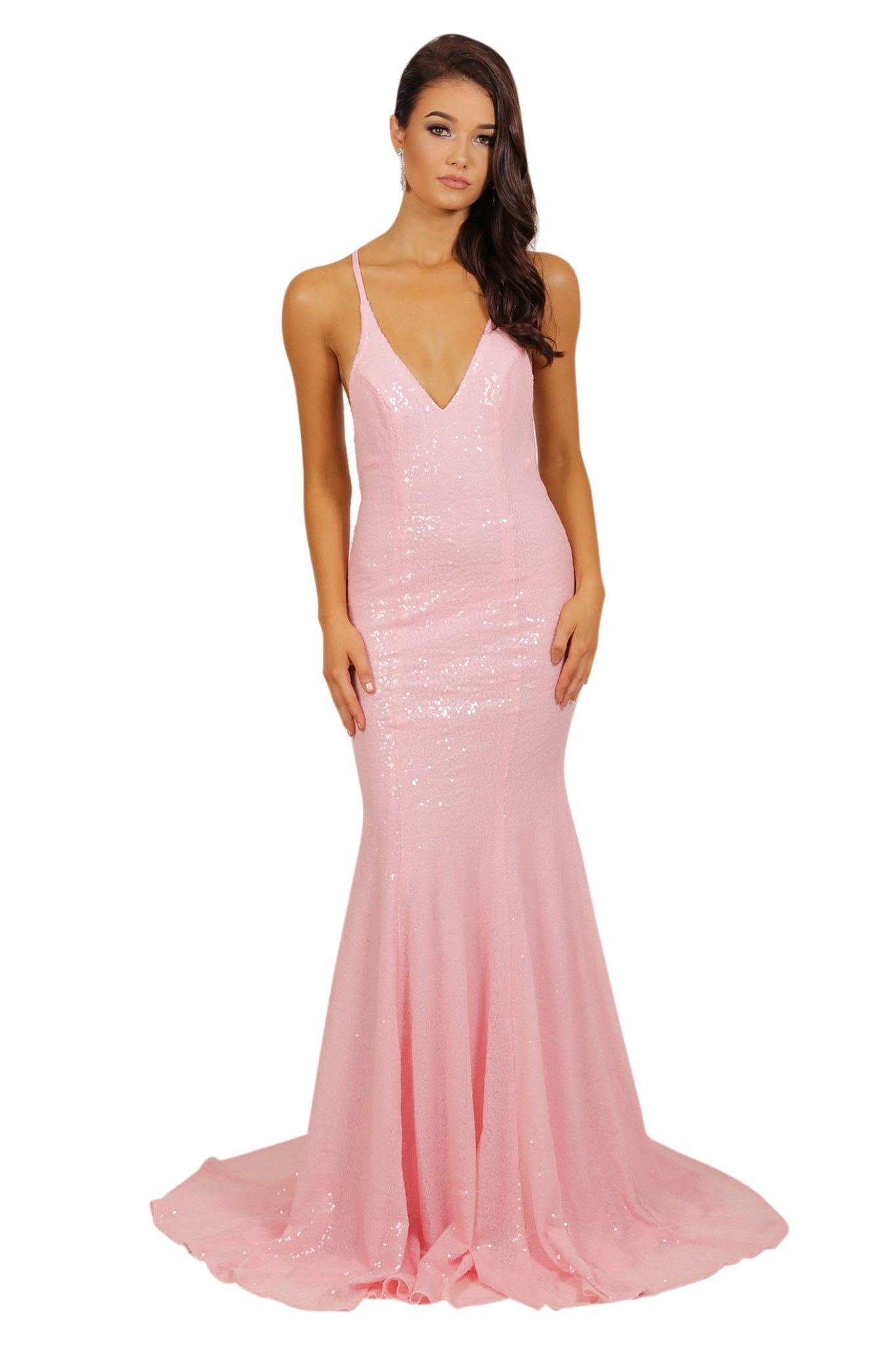 Front of baby pink sleeveless sequin long evening gown with deep V neckline, crisscross back straps on V open back, and long train