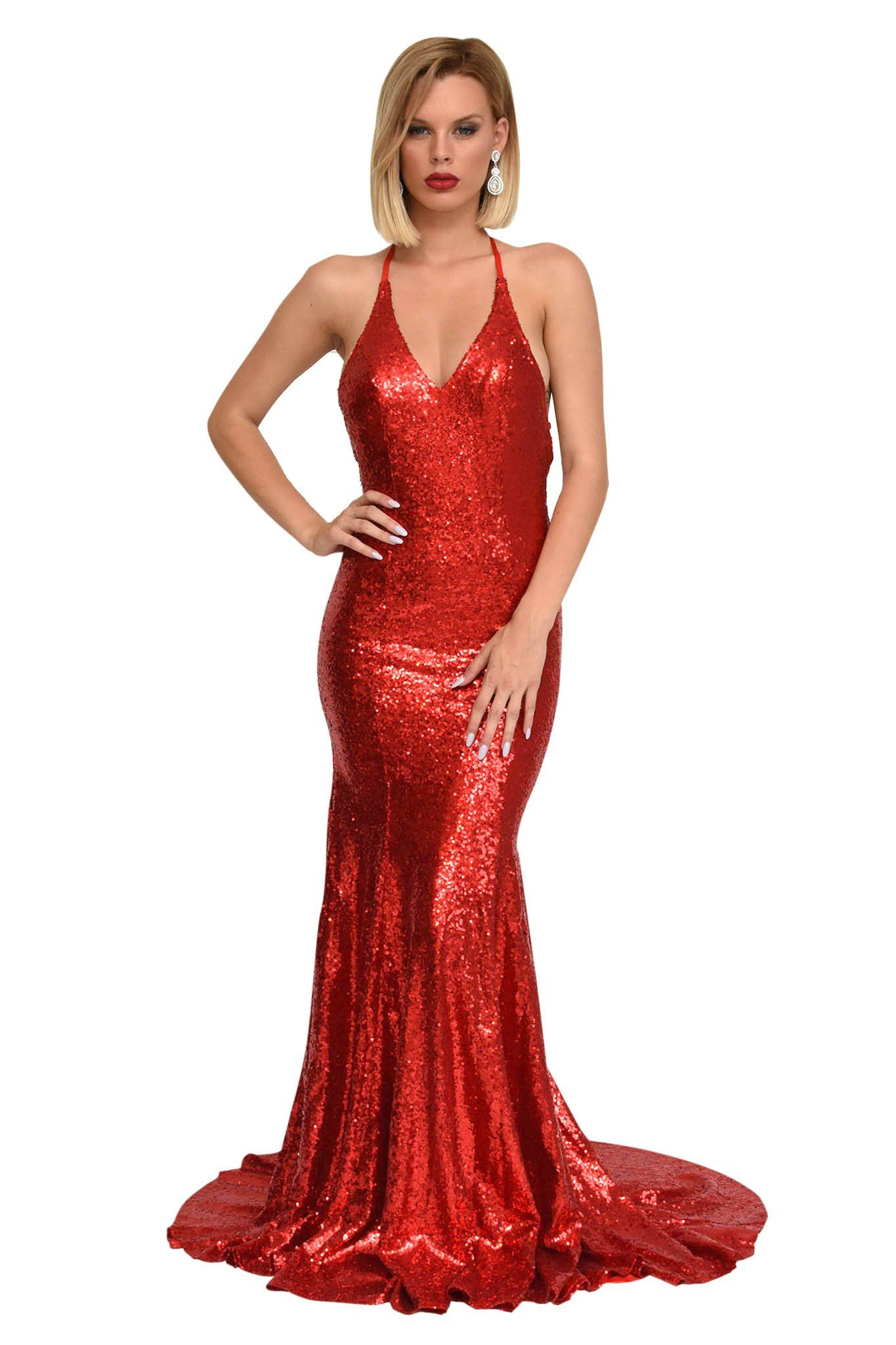Red sequin sleeveless long evening gown with deep V neckline, crisscross back straps, V open back, and long train