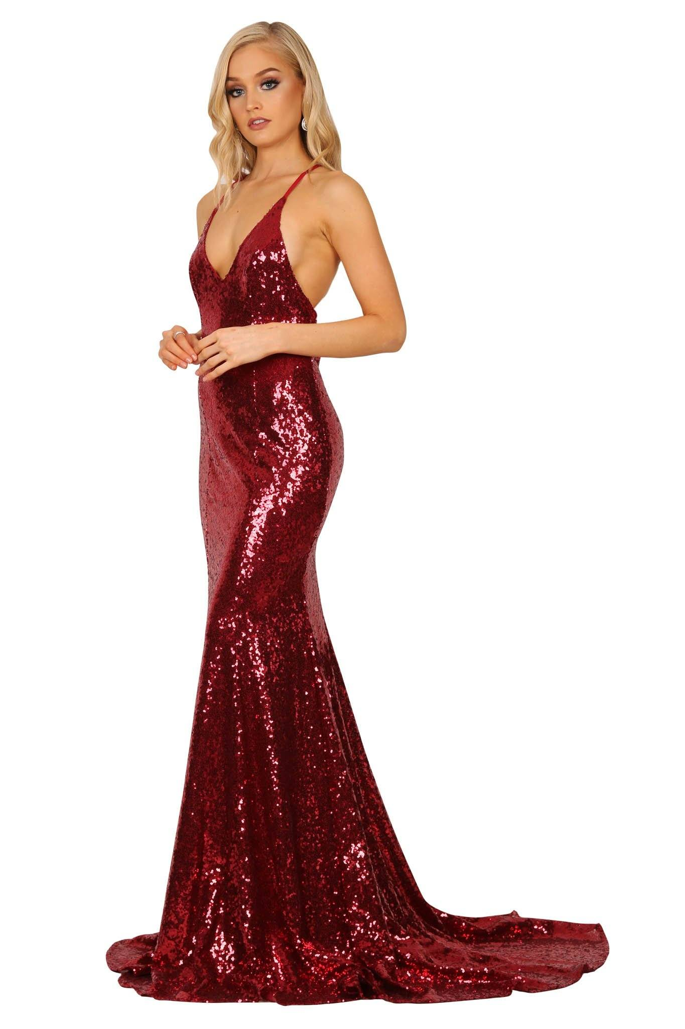 Wine red coloured sequin sleeveless long evening gown with deep V neckline, crisscross back straps, V open back, and long train