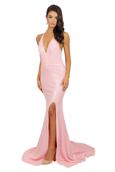 Estellina Front Slit Sequin Gown - Cotton Candy Pink