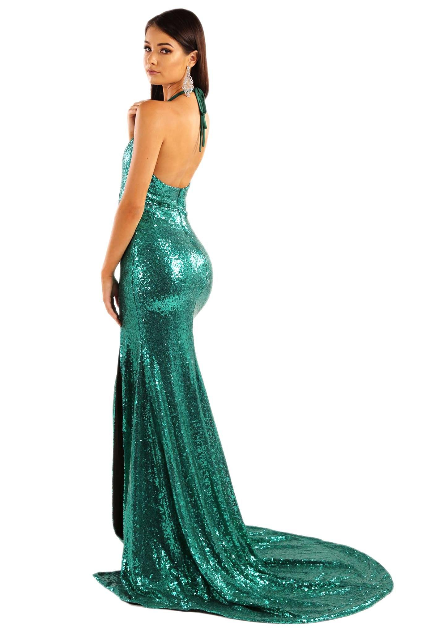 4edb85e32256c Estellina Front Slit Sequin Gown - Emerald Green
